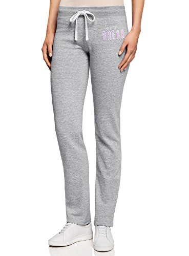 oodji Ultra Mujer Pantalones de Punto con Cordones, Gris, ES 40 / M