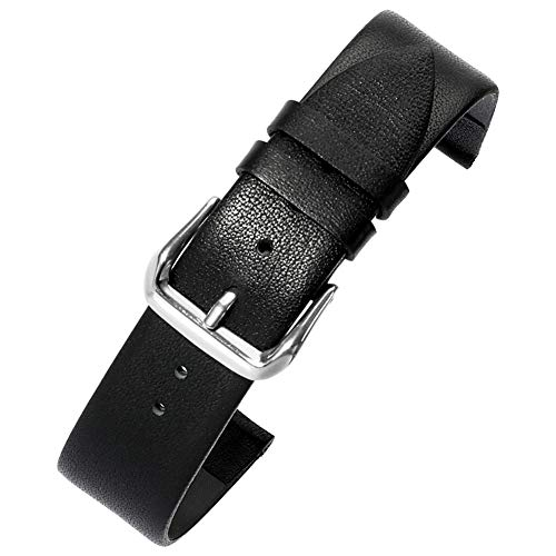 22mm comodi molli bracciali imbottiti di orologi pelle di mucca in nero...