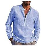 Camiseta de manga larga para hombre, informal, cuello alto, camisa sólida, bolsillo de algodón, camiseta monocolor, manga larga, cuello alzado. azul claro L