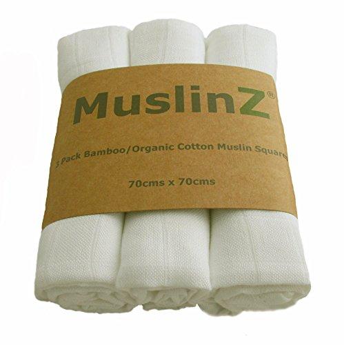 Muslinz Cuadrados de muselina de lujo de de bamb/ú//algod/ón org/ánico 70/cm, Blanco, 6 unidades
