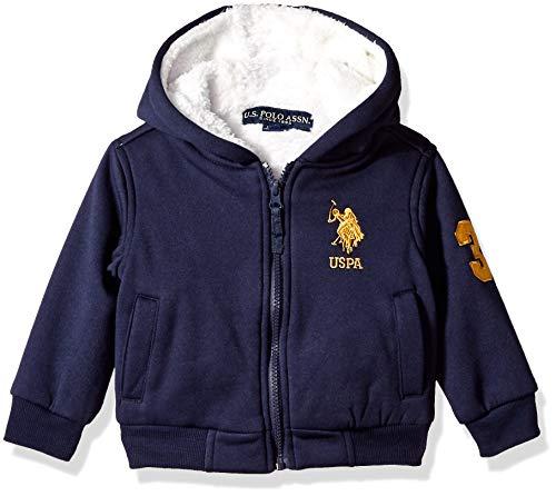 US Polo Association Boys' Big Fleece Hoodie Jacket, Navy, 8