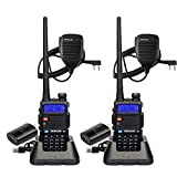 Retevis RT-5R Walkie Talkies Long Range, Dual Band 128CH High Power Handheld Two Way Radios, 1400mAh Rechargeable 2 Way Radios with Shoulder Mic (2 Pack)
