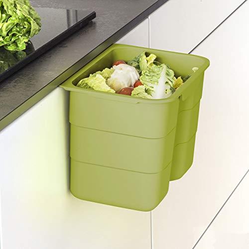 Biobin Multifunktionsbehälter 4,2 L grün mit Deckel 170 x 227 x 172 mm zum Einhängen Bio Abfallbehälter Entsorgung von SO-TECH®