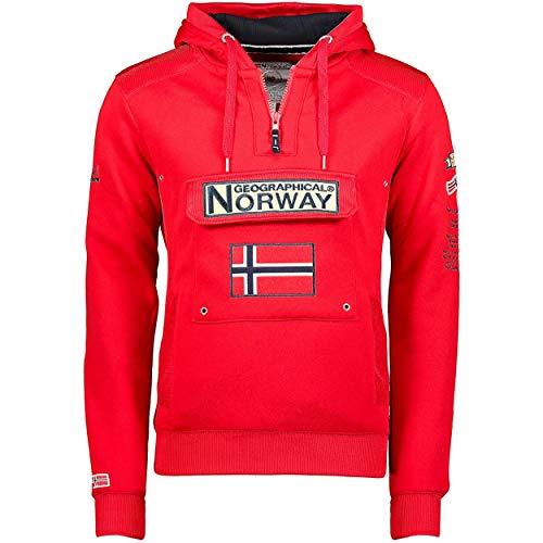 Geographical Norway GYMCLASS Men - Sudadera Capucha Bolsillos Hombre - Chaqueta Casual Hombres Abrigo - Camisetas Camisa Manga Larga - Hoodie Deportiva Regular Fitness Jacket Tops (Rojo L)