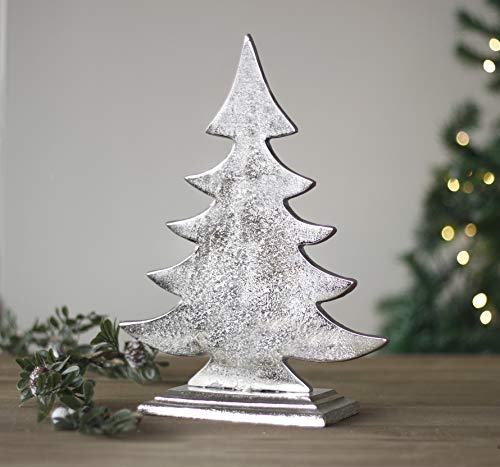 HomeZone Large Aluminum Christmas Tree Unique Xmas Tree Ornament Festive Decor Christmas Decoration Free Standing Rustic Nordic Vintage Style