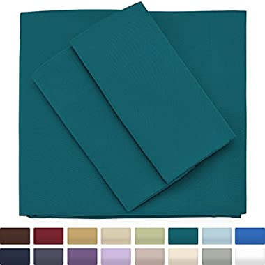 Premium Bamboo Bed Sheets - Queen Size, Dark Teal Sheet Set - Deep Pocket - Ultra Soft Cool Bedding - Hypoallergenic Blend From Natural Bamboo - 1 Fitted, 1 Flat, 2 Pillow Cases - 4 Piece