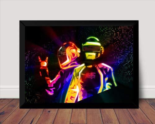 Quadro Musical Arte Daft Punk Poster Com Moldura