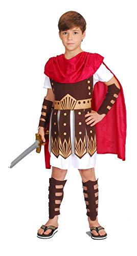 Gladiator Kostüm Kinder rot-weiß-braun - komplettes Römer Kostüm für Kinder Jungen - römischer Krieger Kostüm Kind (110/116)