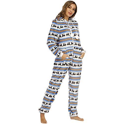 Pijamas de una Pieza Pijamas de una Pieza de Franela navideña para Mujer Ropa de hogar Azul M