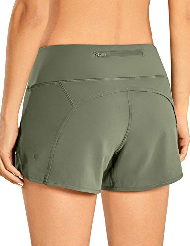 CRZ YOGA Women's Quick-Dry Athletic Sports Running Workout Shorts with Zip Pocket - 4 Inches Grey Sage 4''-R403 Medium