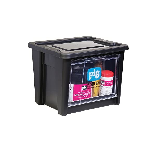 New Pig Battery Acid Spill Kit in See-Thru Bin, Absorbs Battery Acid Up to 5-Gal, Neutralizing Absorbents, KIT322 Container