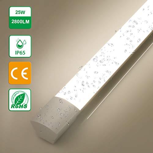 LED Feuchtraumleuchte 25W,Oraymin IP65 Wasserdicht Deckenleuchten LED Röhre Licht 120CM, für Badezimmer Büro Supermarkt Korridor Krankenhaus Tiefgarage Usw, Neutralweiß 4000K, 2800LM