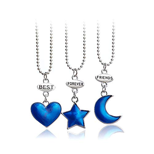 Mingjun - Juego de 3 piezas de collar con colgante de corazón y estrellas, collar de la amistad para mujeres y niñas