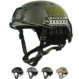 LOOGU Casco táctico Fast BJ Airsoft Ops Core con almohadillas y rieles laterales, casco de protección para ocio, exterior, paintball, combate, casco de combate