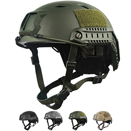 HYOUT Fast Base Jump Helmet MH Style Airsoft Helmets U.S Military Tactical Helmet for Paintball Outdoor Sports Hunting Shooting (Green2)
