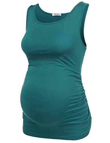 Hotouch Mama Womens Basic Maternity Tank Top Pregnancy Tee Solid Side Ruched...