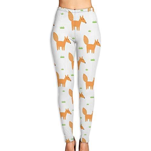 AAAshorts Cute Fox - Pantalones de yoga para mujer, cintura alta, leggings de entrenamiento