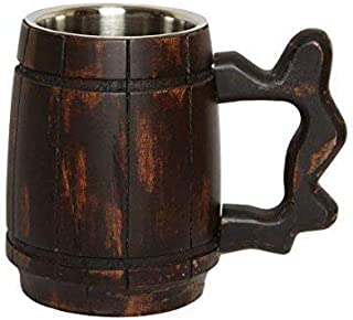 GoCraft Handmade Wooden Beer Mug with 18oz Stainless Steel Cup - Barrel Brown Classic Design