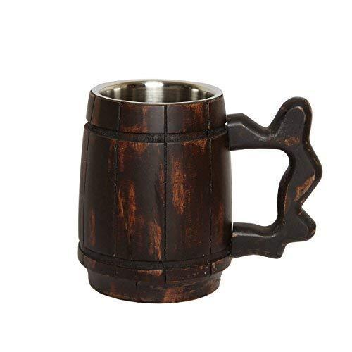 GoCraft Handmade Wooden Beer Mug with 18oz Stainless Steel Cup | Great Beer Gift Ideas Wooden Beer Tankard for Men | Vintage Bar accessories - Barrel Brown Classic Design