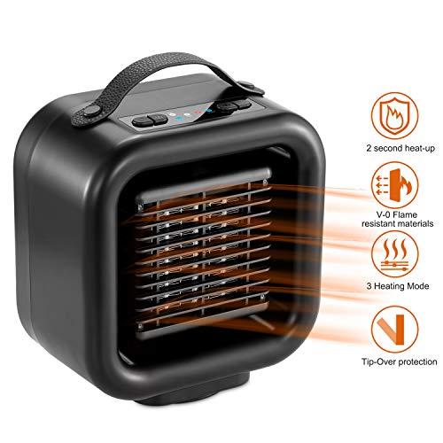COMLIFE Calefactor Eléctrico Cerámico 1000W PTC, Calentacdor de Espacio Personal 120 ° Oscilación Automática 3 Modos Viento Cálido/Natural para Hogar y Oficina con Mango
