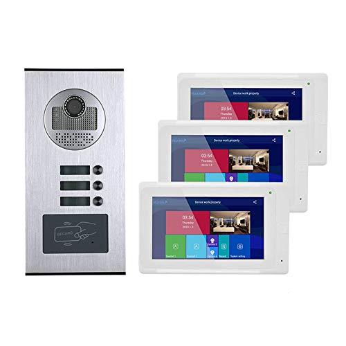 QXue 7 Pulgadas RFID Videoportero Intercomunicador Kit Sistema con Visión Nocturna HD Cámara(3- Monitors 1-Cámara)