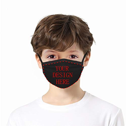 Custom 1PCS Face Mask Mouth Cover Add Your Own Text Name Personalized Anti Dust Reusable Mouth Scarf for Youth Child Teens Unisex
