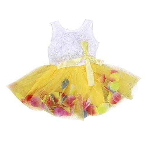 BOBORA Bébés Filles Princesse Robe sans Manches Robe avec Bow 0-4Ans (3-4Ans, Jaune)