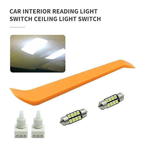 2Pcs Interior Light Switch + 2Pcs Bonus Map Dome Light LED Bulbs Fit for Honda Accord/Dodge/Pilot/Ridgeline/Odyssey/Ram 1500 Replace 34404-SDA-A21, 34404-SDA-A22D3, 924-798