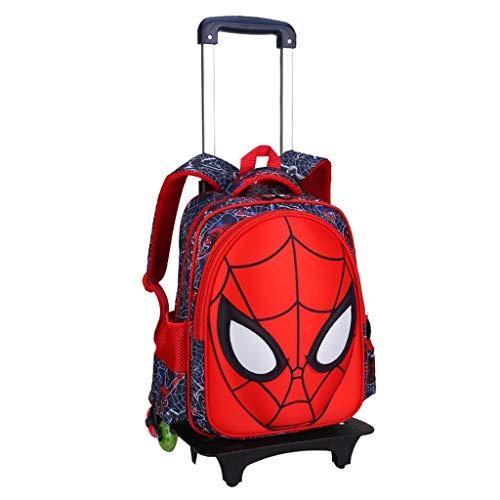 WQLESO Spiderman Trolley Sacchetti di Scuola di rotolamento Zaino con Ruote per i Bambini 6-12 Anni,A