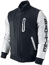 Mens Battle Destroyer XXIV Varsity Jacket Black Wool White Leather Bomber Jacket