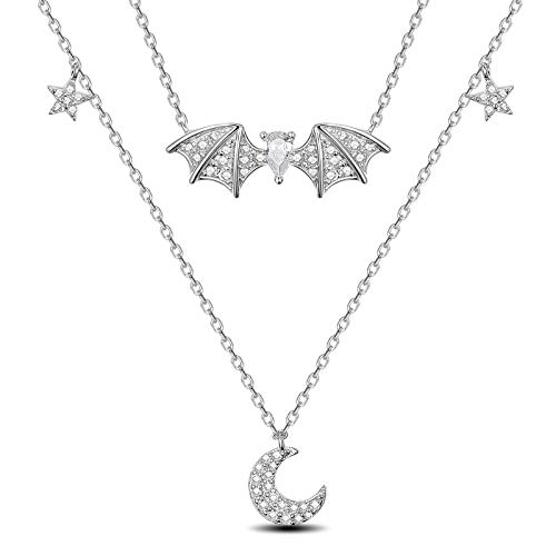 SHEGRACE Silver Layered Animal Necklace for Women 925 Sterling Silver Bat Star Moon Pendant Necklace for Teen Girl 360+50mm