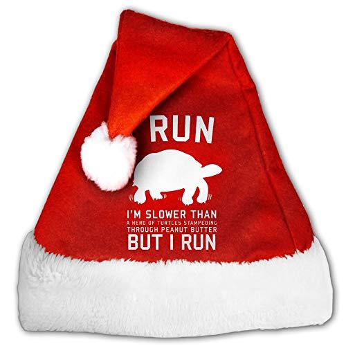 I Run I'm Slower Than Herd Turtles Velvet Christmas Hat For Adult Or Children With Comfort Liner