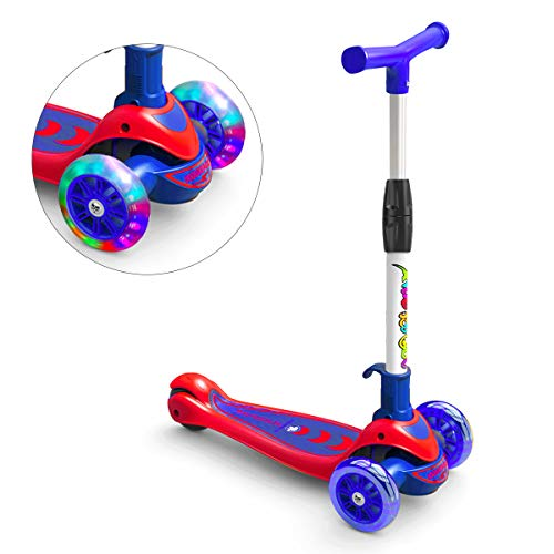 Greentest Scooter Foldable and Adjustable Height Lean to Steer 3 Wheel Scooters for Toddler Kids Boys Girls Age 3-6 (Blue)