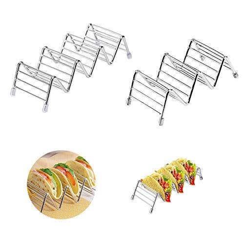 Gloryit 2 piezas Soporte Para Tacos, Soporte Para Taco de Acero Inoxidable, En Forma de Onda de Acero Inoxidable para arreglar tortillas de cáscara dura, sándwiches, pan para perros calientes