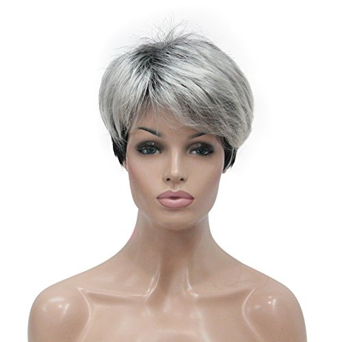 Lydell Women's Short Top Quality Synthetic Hair Wigs Gray wigs
