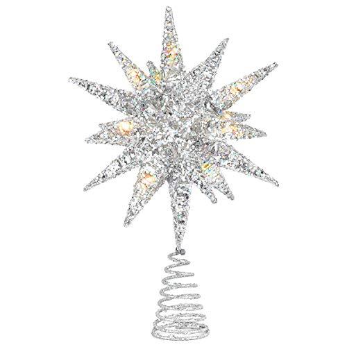 Luxspire Punte Albero di Natale, Puntale per Albero di Natale, a Forma di Albero con Glitter, Accessori per Albero di Natale, a 2 AA Batterie, Decorazione per Natale Festa Casa, Argento