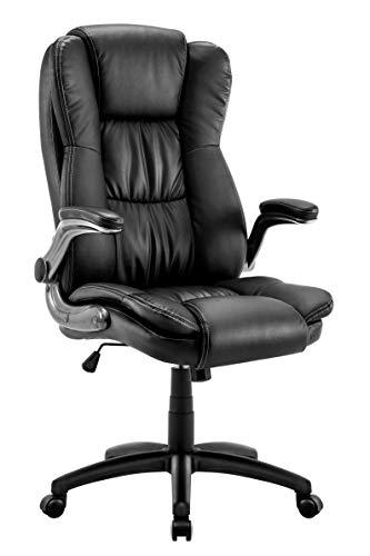 IntimaTe WM Heart Ergonomischer Chefsessel, Bürostuhl mit klappen Armlehnen, Drehstuhl aus Kunstleder 360 Grad drehbar, Schwarz