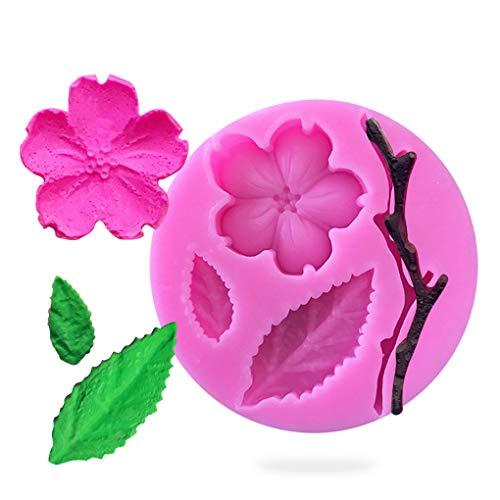 Rolin Roly Fleur PÊChe Fondant Moules en Silicone pour Gâteau Fondant 3D Bakeware Dessert Mould Decoration Mini Silicone Fleur de PÊChe DIY Moule