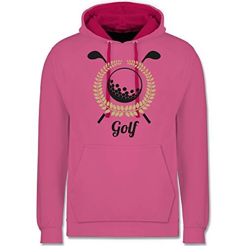 Shirtracer Golf - Lorbeerkanz Golfschläger Golfball - XL - Rosa/Fuchsia - golfbälle rosa - JH003 - Hoodie zweifarbig und Kapuzenpullover für Herren und Damen