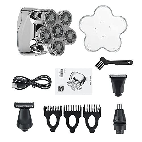 Afeitadora de cabeza calva actualizada, 6 en 1 para hombres, pantalla LED eléctrica impermeable, máquina de afeitar rotativa recargable kit de aseo (color: plata)