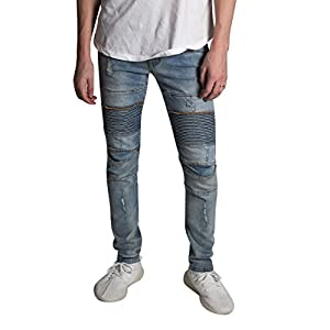 Men's Skinny Fit Stretch Denim 5 Pocket Zipper Fly Distressed Moto Biker Jeans