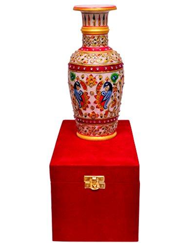 purpledip Indiase cadeau: handgeschilderde marmer pot in een klassieke fluwelen doos (10558)