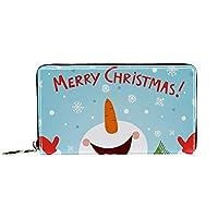 本革財布、小銭入れ、ポーチカードホルダー交換、雪だるまとクリスマス 、ポータブルジッパーバッグ