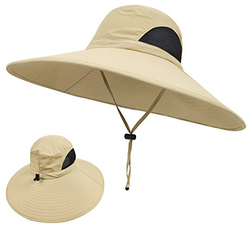 LETHMIK Wide Brim Boonie Hat,Waterproof Sun Protection Outdoor Oversized Brim Hat for Men&Women,for Fishing,Hiking,Camping,Boating & Safari Beige