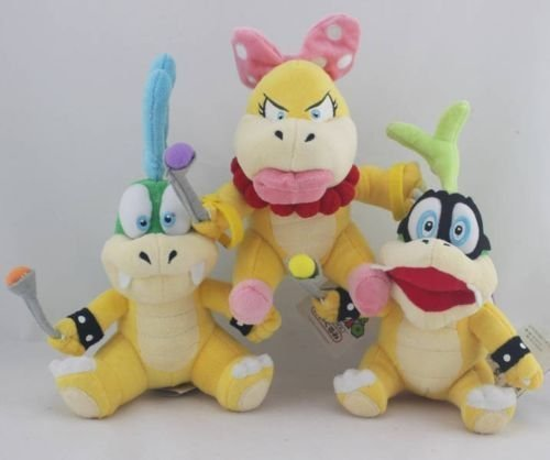 "Super Mario Plush 5.9"" / 15cm Iggy Koopa Wendy O. Koopa & Larry Koopa Set Doll Stuffed Animals Soft Figure Anime Collection Toy"