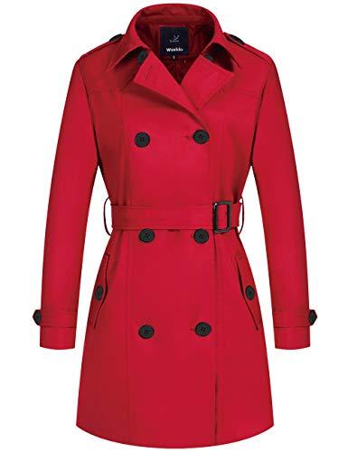 Wantdo Women's Carmen Sandiego Costume Trench Coat Winter Long Peacoat Red Small