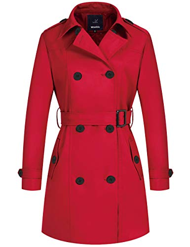 Wantdo Women's Double-Breasted Long Trench Coat with Belt(Red, Large)