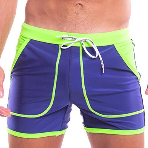 Taddlee Badeanzug Slip Herren Bademode Boxershorts Sexy Pocket Solid Board Shorts Blau - blau - L Passen Taille 86/91 cm