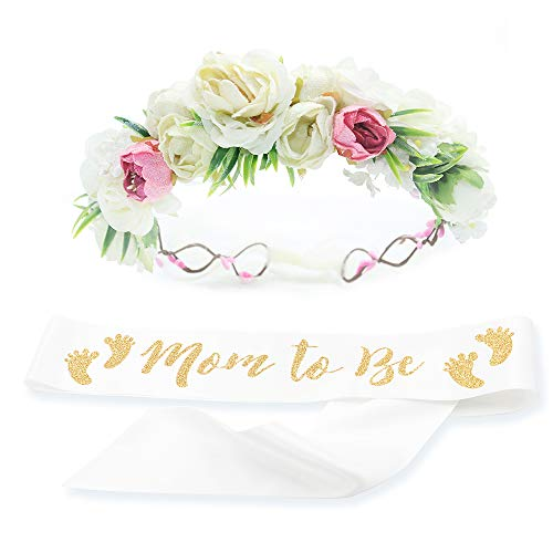 Baby Shower Mom Sash & Flower Crown Kit - Baby Girl Sash Princess Baby Shower Baby Sprinkle (White & Gold)