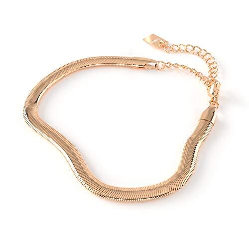 THIORA® - Schlangenkette Armband Damen | Snake Chain | Fischgrät Fischgrätenmuster | Goldkette | Rosegold Gold Silber | Schlangen Kette (Rosegold)